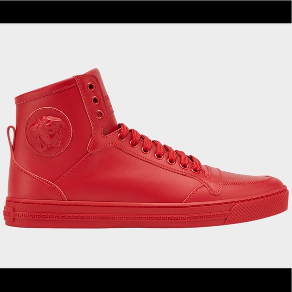 New $895 Versace Red Leather Medusa High Top Shoes NWT